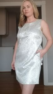Silver brocade Michael Kors dress
